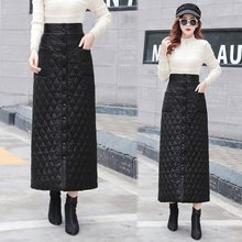 Autumn Winter Plus Size Warm Down Cotton Skirt 2019 New Single-breasted Button Pocket Solid Black Thick A Line Long Maxi Skirt(China)