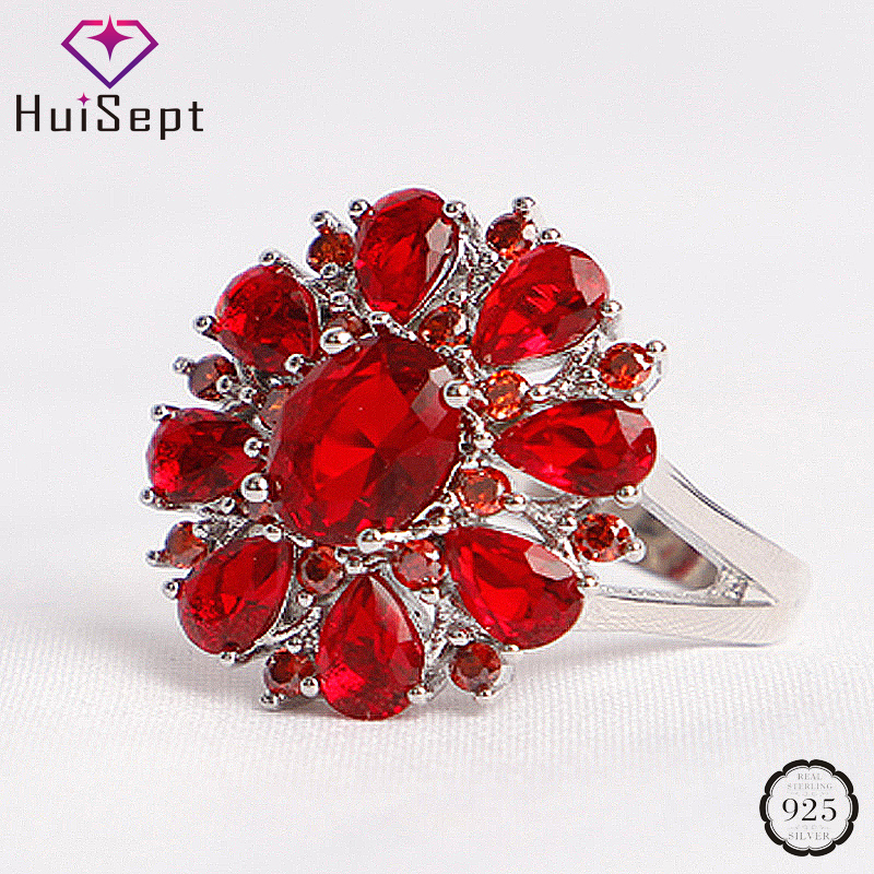 HuiSept Classic 925 Silver Ring Ruby Gemstones Flower Shape Jewelry Female Rings Wedding Promise Party Gifts Ornaments Wholesale