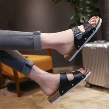 New Summer Men Beach Cork Slippers Casual Double Buckle Clogs Slides Man Slip on Flip Flop Shoe Plus Size 35-44 black white gktinoo genuine leather shoes hollow slippers handmade slides flip flop on the platform clogs for women woman slippers plus size