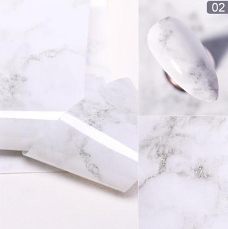 เล็บชุดหินอ่อนสีชมพูฟอยล์กระดาษเล็บArt Transferสติกเกอร์สไลด์เล็บDecalเล็บ1กล่อง