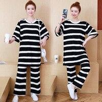 Spring And Summer Korean style Loose Fit Medium length Pregnant Women Set Yarn Dyed Striped Shirt + Yarn Dyed Stripes Wide Leg M