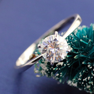 Image 5 - 10 K สีขาวทองหัว Rose Gold Bnad 2ct 8mm Brilliant CUT GH สี Moissanite 4 Prongs Solitaire งานแต่งงานแหวน