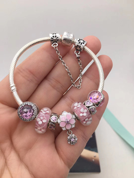 high quality store 1:1 100% 925 pink sterling peach flower accounts free shipping bracelet