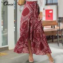 Maxi Skirts BELTED Asymmetrical Vintage High-Waist Women Celmia Casual Ruffles Print