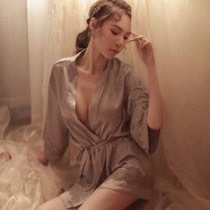 Image 3 - Sexy Bridesmaid Robes Chinese Bride Wedding Robe Satin Sleepwear Women Nightgown Nightdress Kimono Bathrobe Gown Negligee