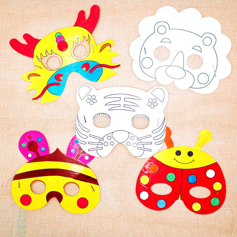 Children's DIY Graffiti Blank Cartoon Animal Mask Arts And Crafts Toys Kindergarten Education Toys For Kids Toddler