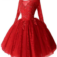 Homecoming-Dress Graduation Party-Gowns Tulle Formal Mini Short Appliques Beaded Long-Sleeves