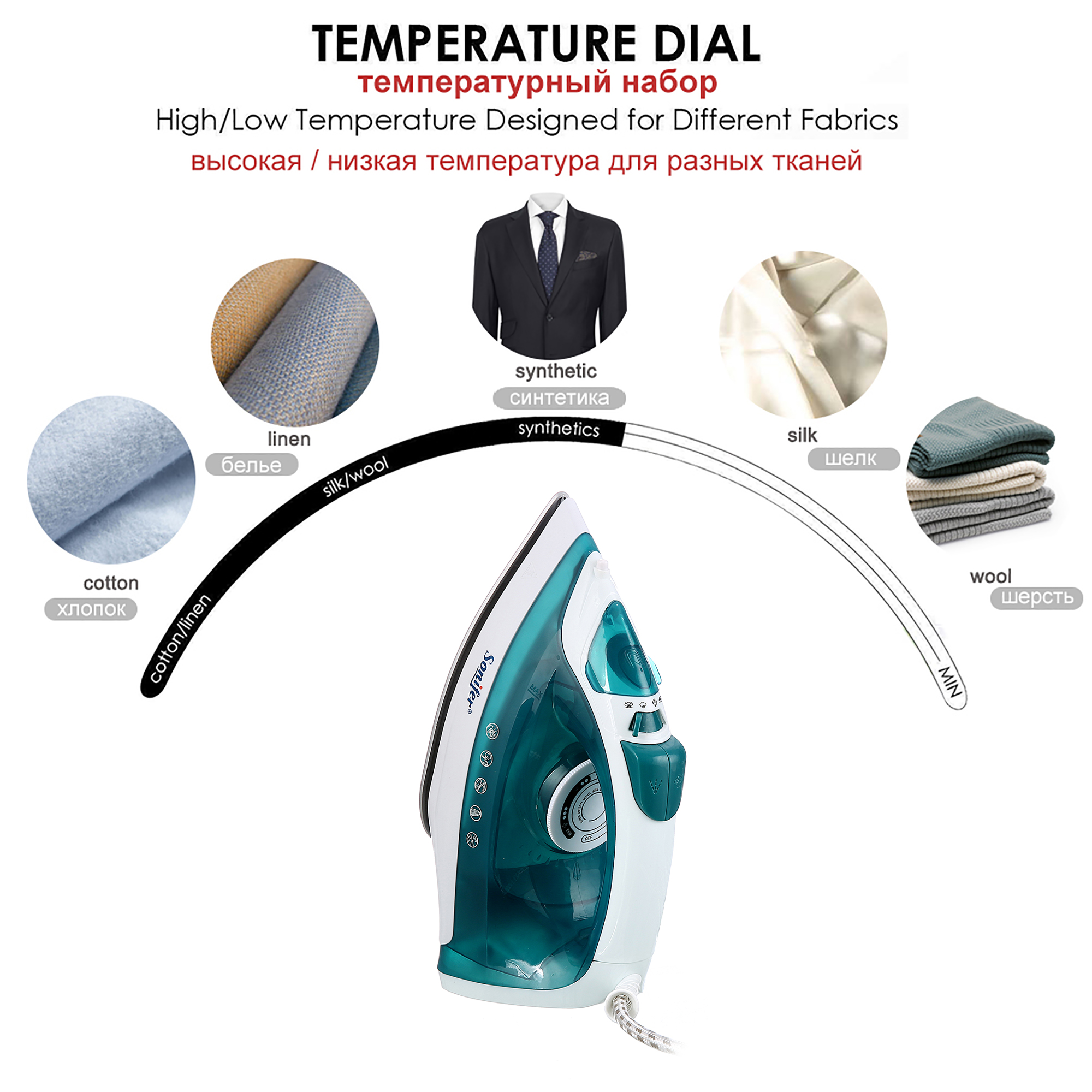 Image 4 - 1600W Portable Mini Electric Garment Steamer Steam Iron For Clothing Iron Adjustable Ceramic Soleplate Iron For Ironing SoniferElectric Irons   -