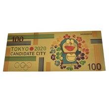 Hot NiHon Carton Doraemon Gold Banknote 100 Yen souvenir card