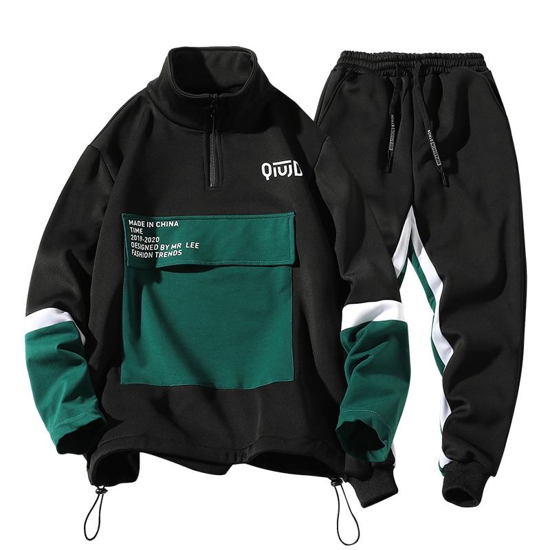 Mans Hoodie Heavy Sport Jacket Suit For Fall/winter Black Jacket Korean Outdoor Sports Long Sleeve Plus Size Men's Sweatpants