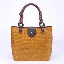 цены Retro Natural Straw Tote Bag Handmade Woven  Rattan bags Thai style Travel Vacation  Large-capacity Casual Bags beach bag