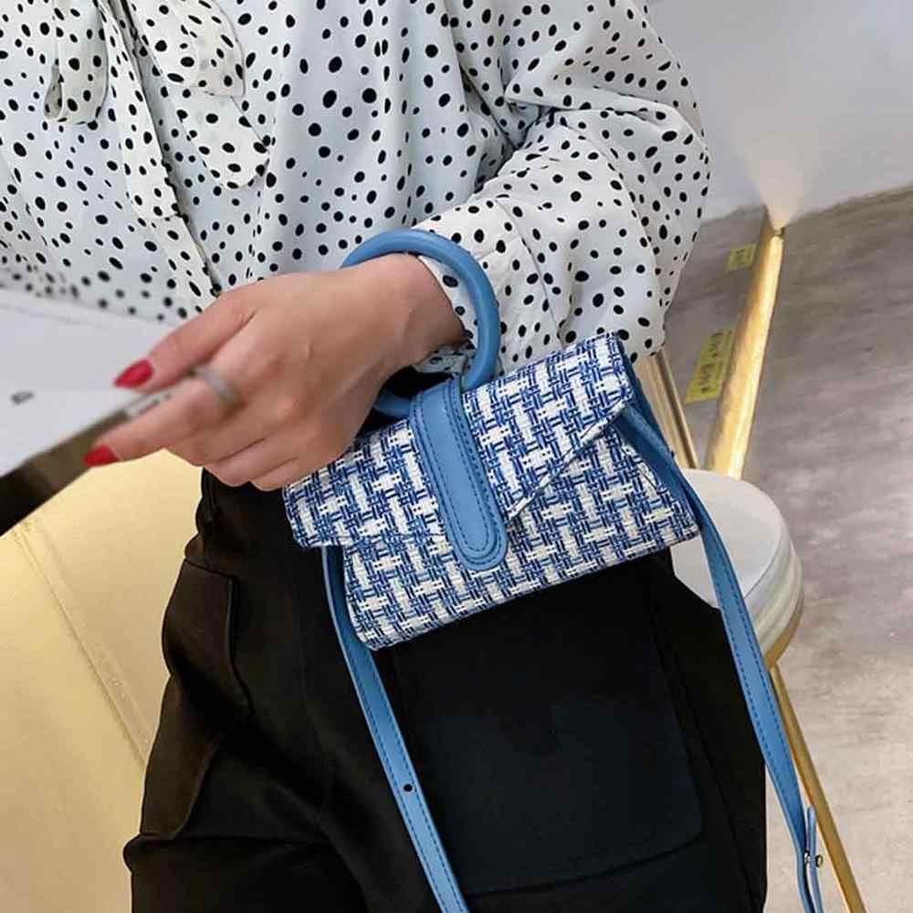 Mulheres Sacos De Palha Rattan Bolsa Bolsa de Praia Feminino Círculo Boêmio Senhora Crossbody Saco Do Mensageiro Tecer Handmade Kintted