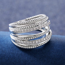 Vintage Female White Crystal Stone Ring Charm Silver Color Wedding Rings For Women Luxury Bride Geometry Zircon Engagement Ring