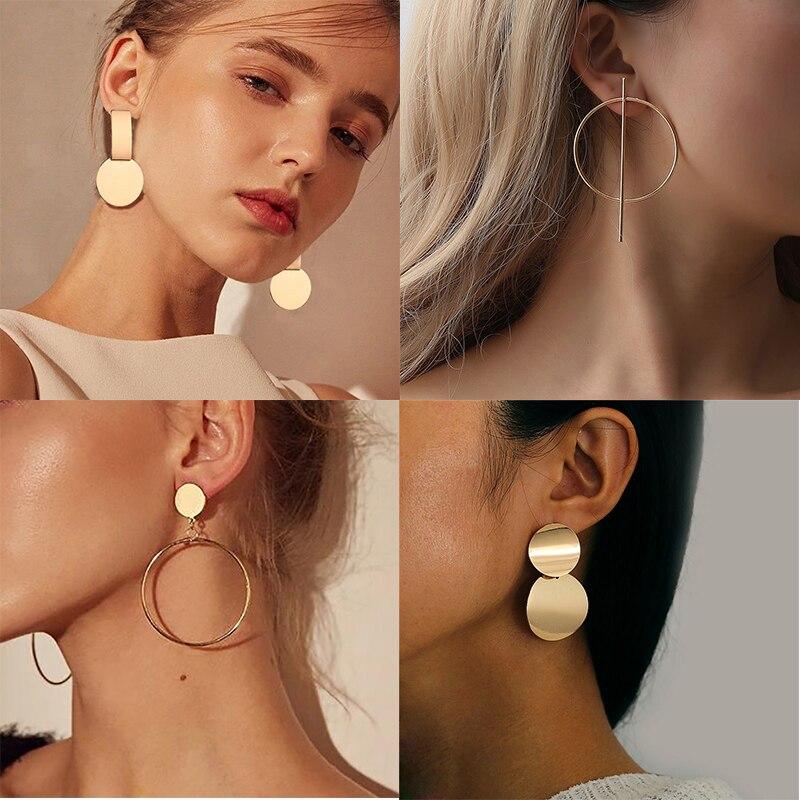 Big Gold Statement Earrings For Women Metal Trendy Luxury Fashion Female Jewlery Top Design Vintage Earring Hanging Earrings(China)