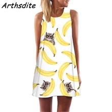 Arthsdite New Summer Dress Women Sleeveless A Line Boho Short Beach Casual 3D Clothes Sundress Sexy Vintage Shift