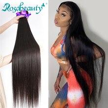 Rosabeauty cabelo natural longo peruano liso, cabelo humano 3 4 pacotes sem processado cabelo virgem 30 28 polegadas