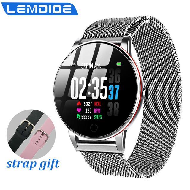 LEMDIOE women mens smart watch waterproof  ip67 heart rate monitor multiply sport mode replaceable strap  couple watch smart
