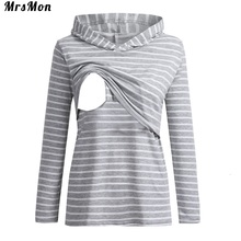 Striped cap loose breastfeeding long-sleeved pregnant woman T-shirt vestidos de lactancia nursing dresses breastfeeding nursing summer maternity wear striped breastfeeding short sleeve nursing dress pure color loose open forked long t shirt pregnant cloth