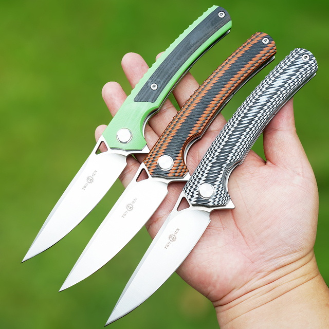 TWOSUN d2 składany scyzoryk flipper noże taktyczny nóż myśliwski survival narzędzia do pracy na zewnątrz EDC łożysko kulkowe szybko otwarte g10 TS81