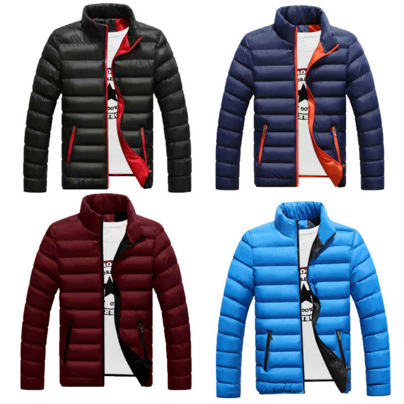 Tops Men Warm Cotton Padded Down Coat Winter Slim Thick Casual Outerwear Jacket