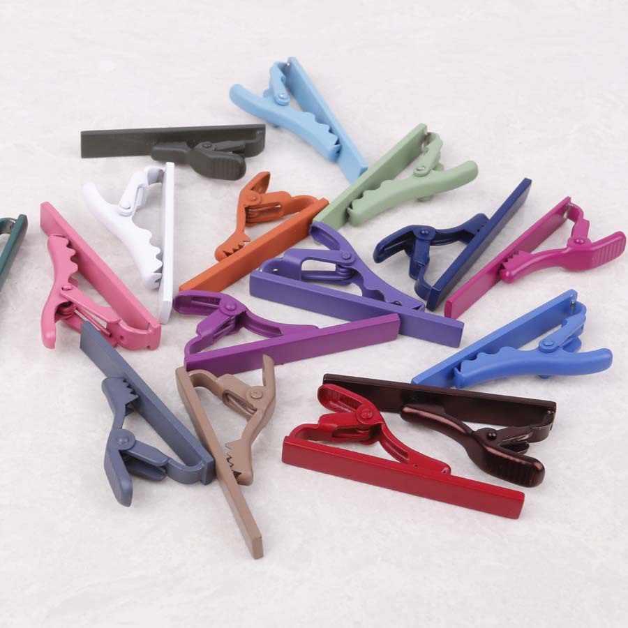 Linbaiway basit moda kısa Metal kravat iğnesi iş rahat gömlek kravat toka kravat iğnesi erkek hediye için özel Logo