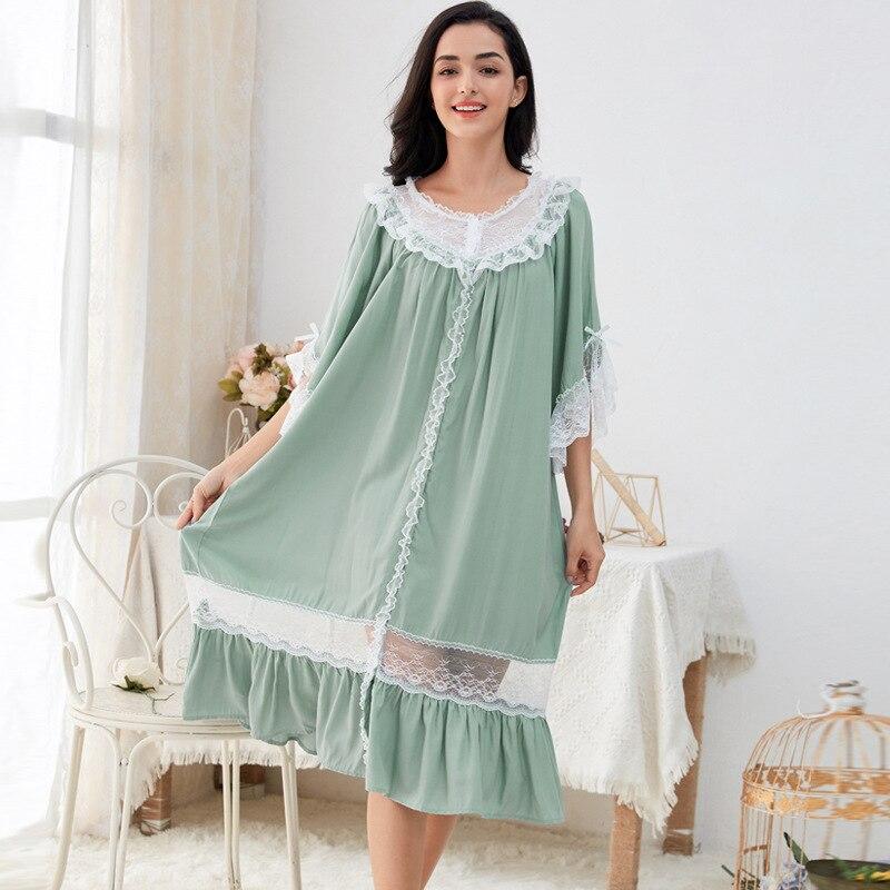Medium sleeve nightdress sexy goddess Princess pajamas large loose lace lovely home clothes
