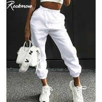 Rockmore Харадзюку джоггеры Широкие штаны женские брюки плюс размер Высокая талия брюки уличная Корейская Повседневная Брюки Femme осень