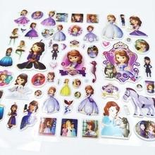 Sophia 6pcs Cartoon Sophia Sticker Children's Birthday Gift Toy Cute 3D Stereo PVC Bubble Sticker Child Reward party favors DIY блуза sophia sophia so042ewassc9