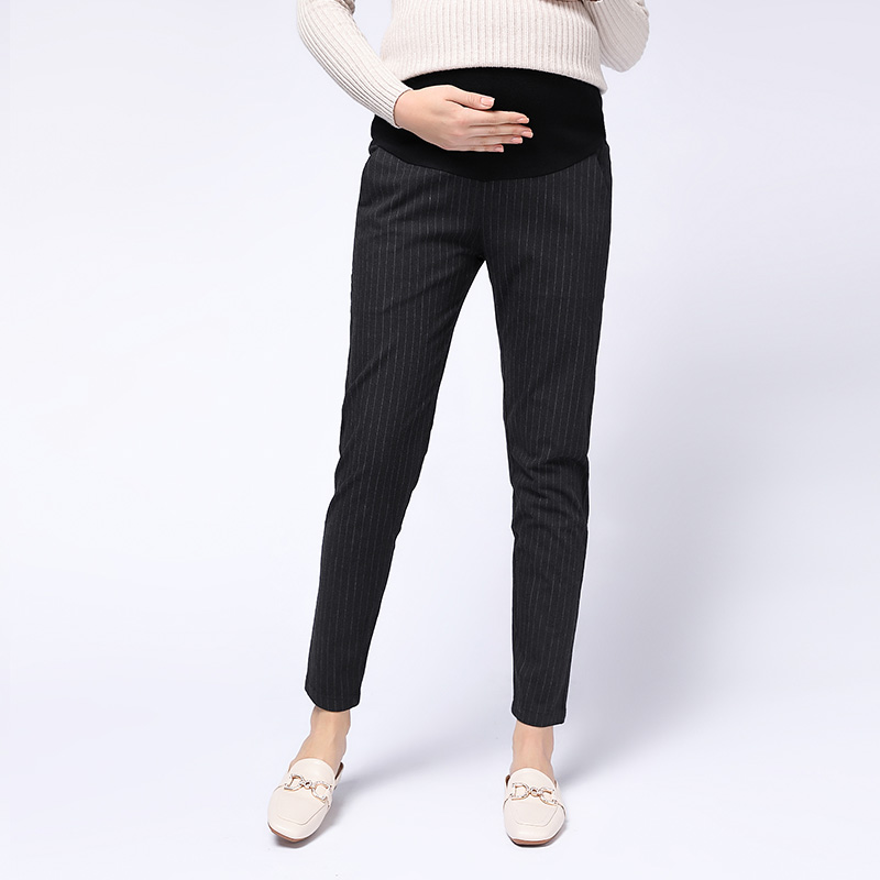 205# Autumn Fashion Strip OL Formal Work Maternity Jeans Elastic Waist Belly Pencil Pants For Pregnant Women Pregnancy Trousers