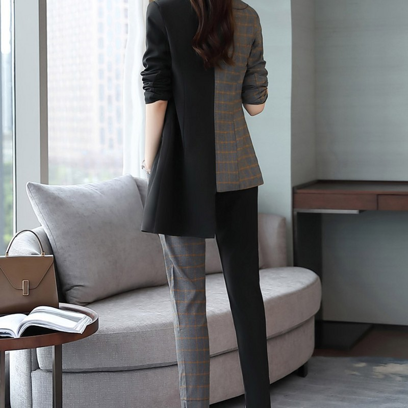 Womens Spring Autumn Suit Two Piece Set Elegant Slim Patchwork Irregular Single Breasted Blazer Spliced Plaid Trousers M-2XL