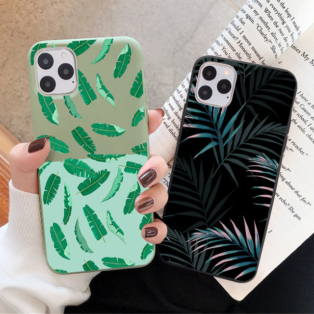 Hot Art  Banana Leaf Phone Case For iPhone 12 11 Pro Max XR XS Max 6S 7 8 Plus X SE 2020 Luxury Soft  Silicone Back Cover Cases 4