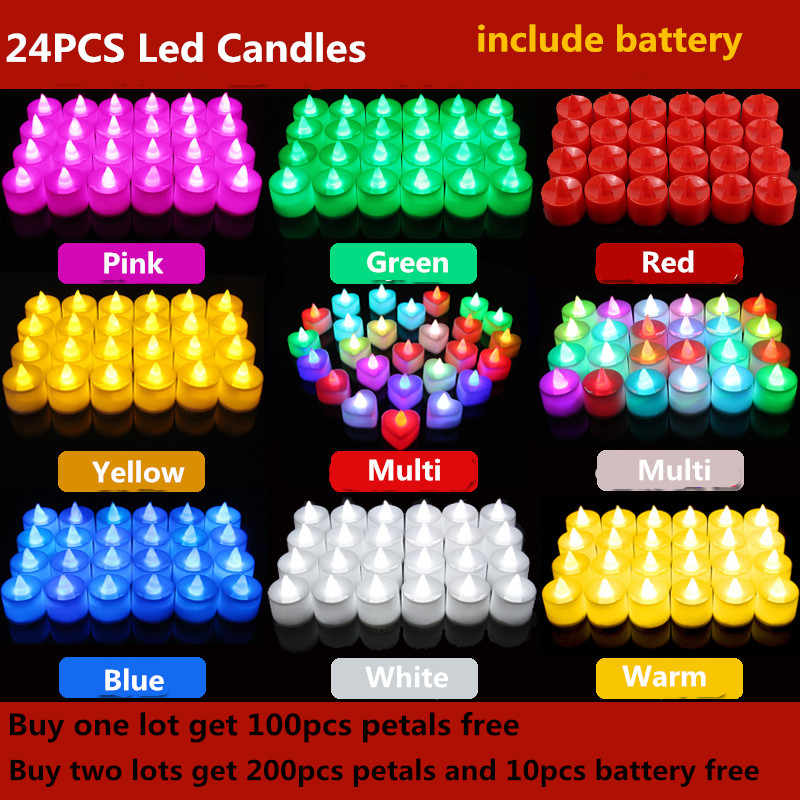 24pcs LED Candle Tea Light Battery Powered Lamp Simulation Color Flame Flashing Home Wedding Birthday Party Decoration Candles