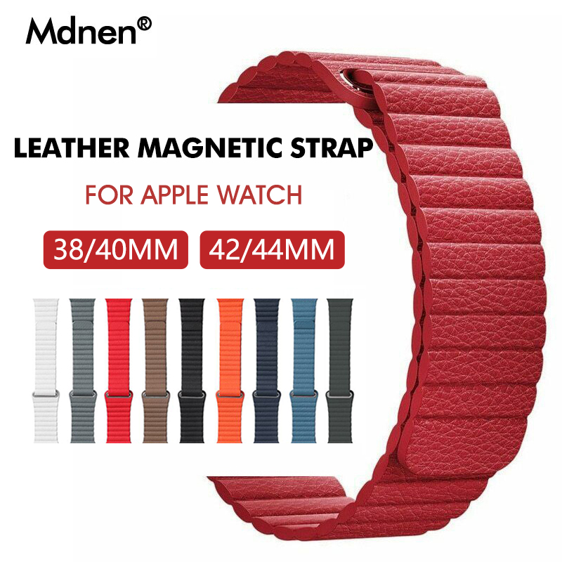 Band For Apple Watch Band Strap 42mm 38mm Iwatch 5 4 3 2 1 Mdnen Closure Loop Genuine Leather Link Bracelet Magnetic Buckle