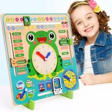 Montessori juguetes de madera para niños, reloj con calendario, tiempo cognitivo, educativo