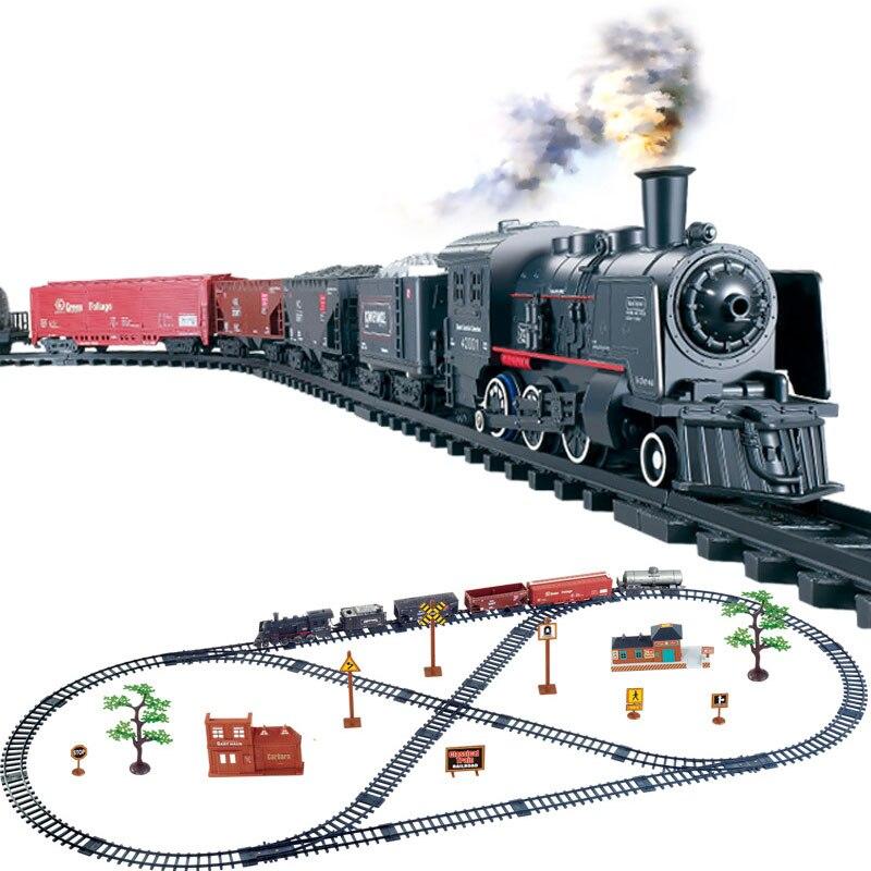 Моделирование классического длинного парового поезда, электрические игрушки, поезда для детей, грузовик для мальчиков, железнодорожная до...