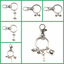 Hot Fashion Accessories Keychain Mini Dumbbell Discus Barbell Keychain Fitness Charm Keychain Designer Gift Coach Souvenir Charm(China)