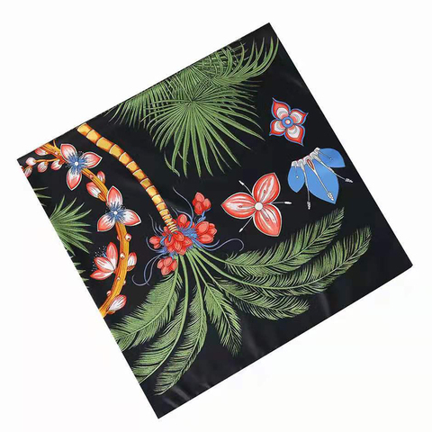 Luxury Brand 2020 New Design Palm Tree Spring Square Scarf 130cm Twill Silk Scarf Women Kerchief Scarves For Ladies Shawl Lahore