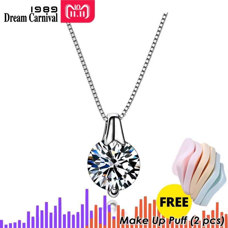 DreamCarnival 1989 nowe srebrne 925 biżuteria okrągły cyrkon Super Bright cyrkonia moda wisiorek naszyjniki dla kobiet SZ10957R