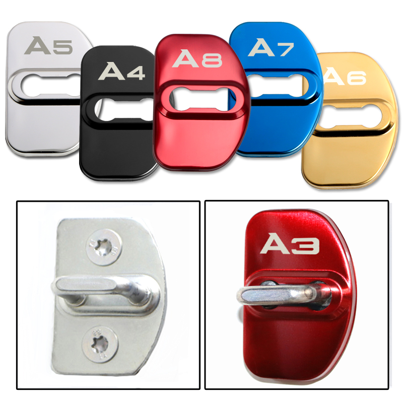 4pcs Car Styling Auto Stainless Steel Door Lock Cover Emblem Protection Anti-Rust For Audi A1 A3 A4 A5 A6 A7 A8 Q3 Q5 Q7 S8 TT
