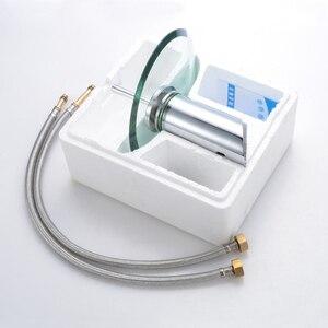 Image 5 - Смеситель для раковины из хромированного стекла, смеситель для раковины в ванной комнате, однорычажный круглый смеситель на палубе