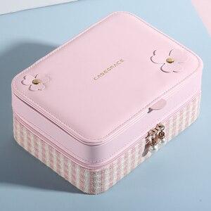 Image 4 - Casegrace dwuwarstwowa przenośna torba podróżna pudełko na biżuterię z lustrem skórzany Organizer do ekspozycji futerał do przechowywania kolczyków naszyjnik pierścionek