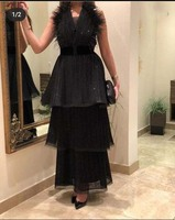 Sexy Black V Neck Pleated Sleeveless Feather Belt Cup Cake A Line Ankle Length Evening Dresses