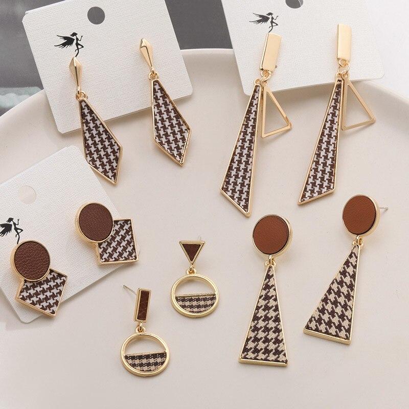 POXAM New Korean Fabric Square Drop Earrings for Women Cute Geometric Fashion Leather Gold Dangle Earrings 2020 Women's Jewelry