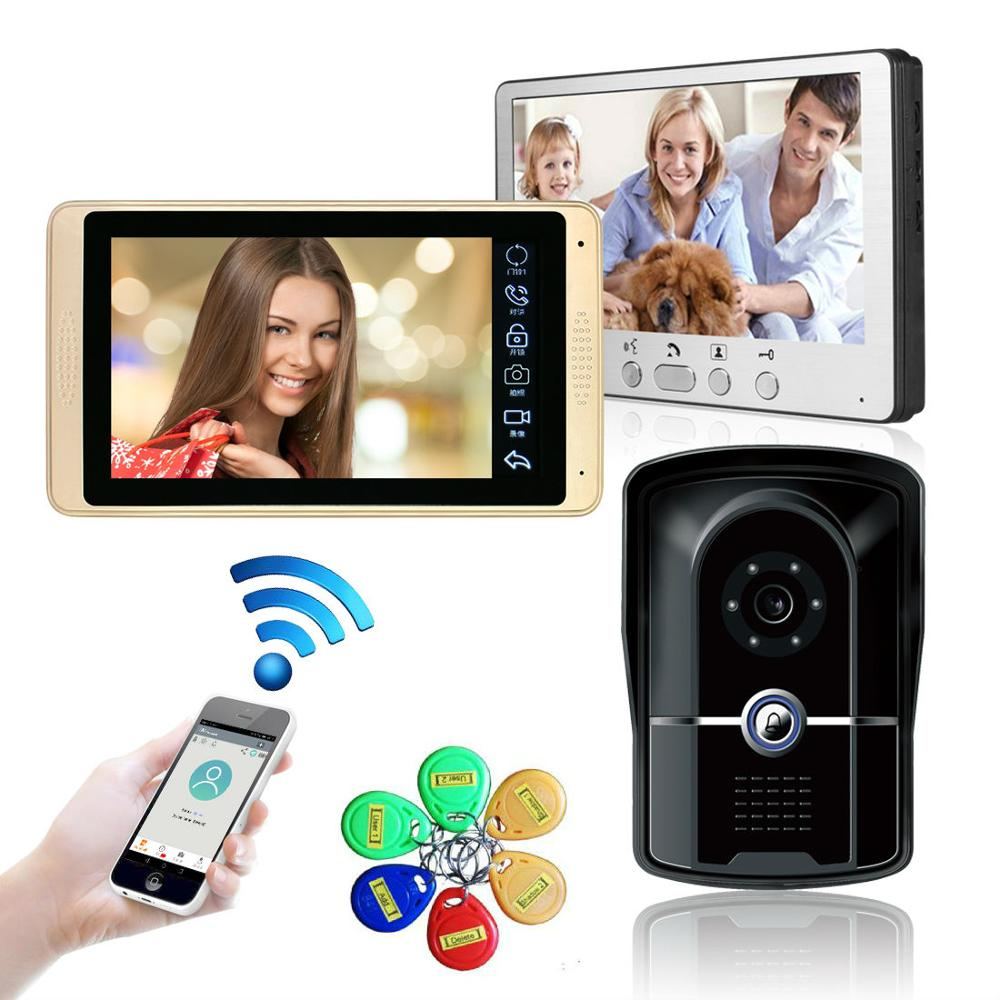 7 Inch 2 Monitor Wired WIFI RFID Password Video Door Phone Intercom System Night Vision Camera With Access Control System