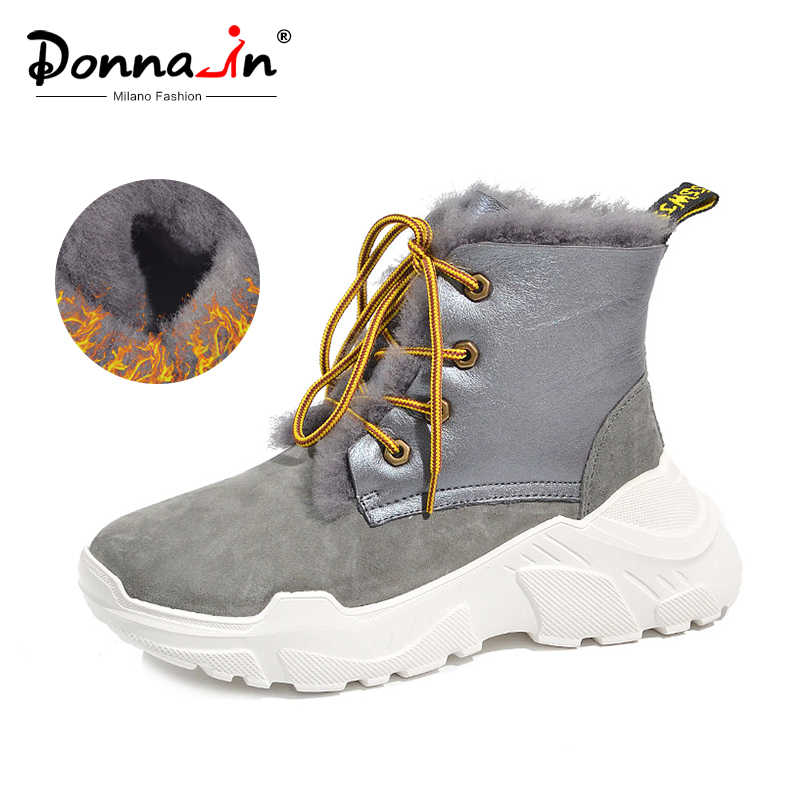 Donna-in hakiki deri kış kadın botları Shearling yün kürk kar botları Lace Up moda yarım çizmeler yüksek platform ayakkabılar kadınlar