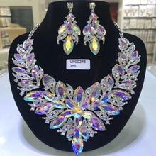 Rhine stone Jewelry sets  Women Wedding Bride Fashion Big Necklace Fine Wedding Earring