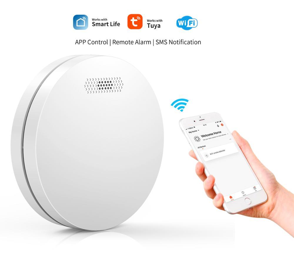 WIFI детектор дыма Tuya Smart Life APP контроль Rauchmelder домашняя охранная пожарная сигнализация ультра-тонкий дизайн с одобрением CE