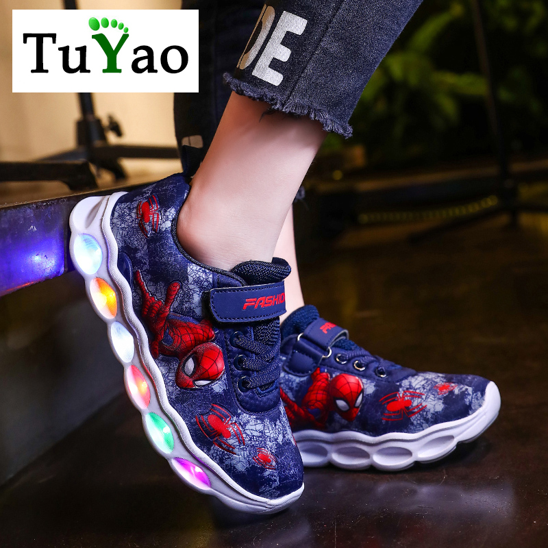2020 Boys Led Shoes Girls Cartoon Light Up Luminous Sneakers Glowing Illuminated Spiderman Running  Shoes For Kids