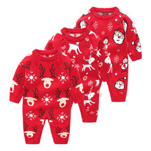 Sweater Baby Unisex Clothes Winter 2019 My 1st Christmas New Year Outfit From 0 To 1 Off Shoulder Layette Newborn Set