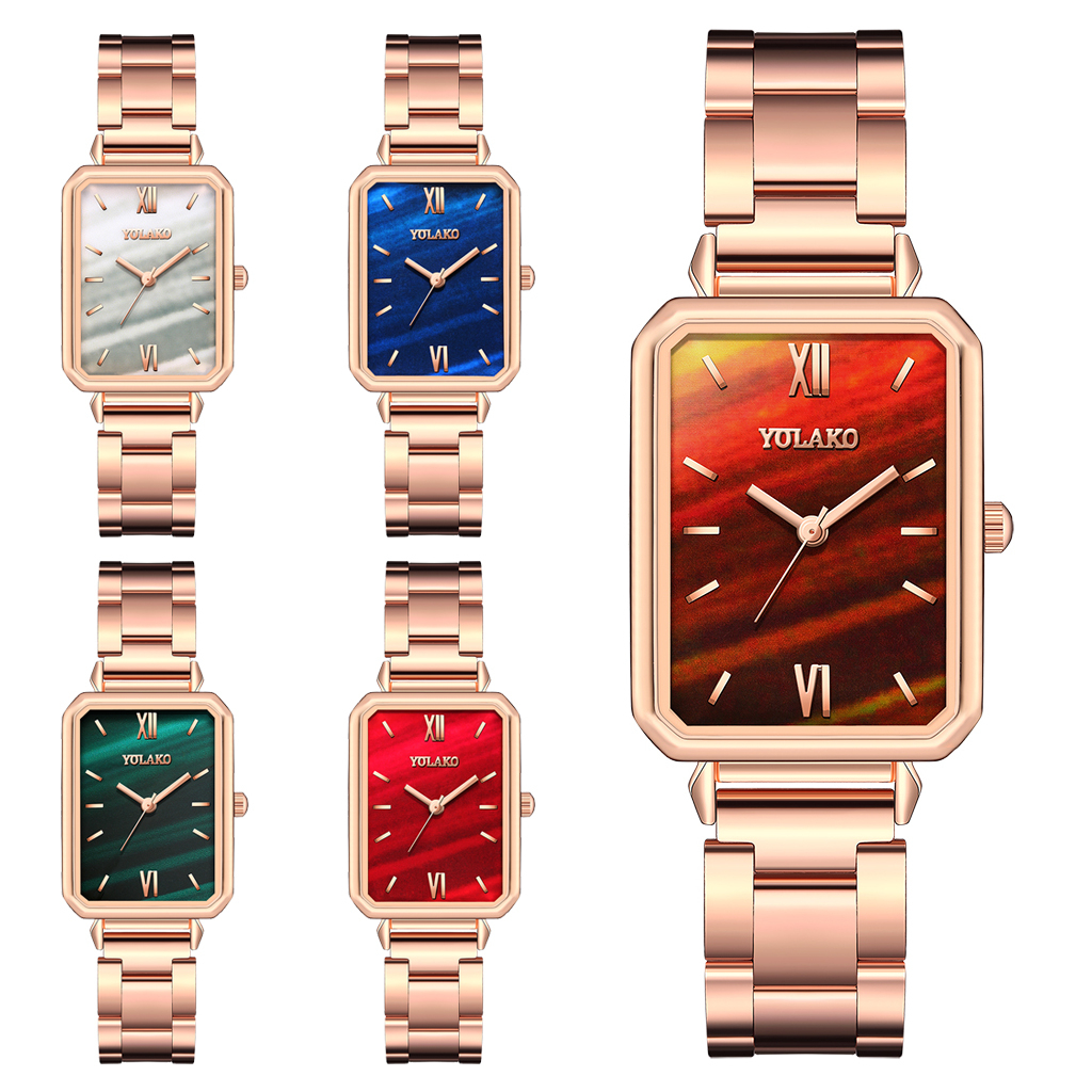 Reloj Mujer Women Rectangle Green Marble Dial Roma Watches YOLAKO Female Rose Gold Stainless Steel Quartz Wrist Watches 6